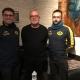 Sandro Scuderi (l.) mit KSV-Fußballobmann Jean Kamps (m.) und Ferhat Ökce (l.), Trainer der Ersten Mannschaft.