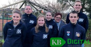 SSG III – Tabellenführer Landesoberliga (von links): Maike Trötschkes, Markus Bauer, Denise Faahsen, Pea Smeets, Betreuerin Lucie Kösters, Wesley Holthuijsen, Simon Janshen.