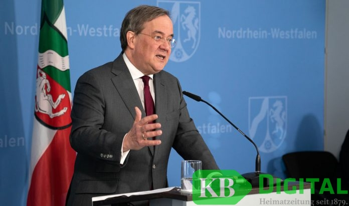 Ministerpräsident Armin Laschert verkündet das Kontaktverbot. (Foto: Land NRW)